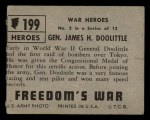 1950 Topps Freedoms War #199   General James H. Doolittle  Back Thumbnail