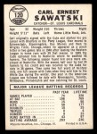 1960 Leaf #120  Carl Sawatski  Back Thumbnail