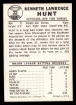 1960 Leaf #33  Ken Hunt  Back Thumbnail