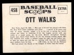 1961 Nu-Card Scoops #458   -   Mel Ott  Ott Walks 5 Times in a Single Game Back Thumbnail