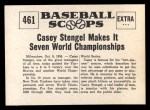 1961 Nu-Card Scoops #461   Casey Stengel   Back Thumbnail