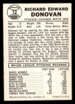 1960 Leaf #72 SML Dick Donovan  Back Thumbnail
