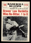 1961 Nu-Card Scoops #408   -   Lew Burdette Braves Burdette Wins No-Hitter Front Thumbnail