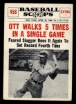 1961 Nu-Card Scoops #458   -   Mel Ott  Ott Walks 5 Times in a Single Game Front Thumbnail