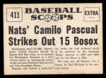 1961 Nu-Card Scoops #411   Camilo Pascual   Back Thumbnail