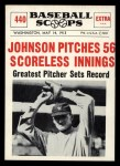 1961 Nu-Card Scoops #440   -   Walter Johnson  Johnson Pitches 56 Scoreless Innings Front Thumbnail