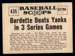 1961 Nu-Card Scoops #435   -   Lew Burdette Burdette Beats Yanks in 3 Series Games Back Thumbnail