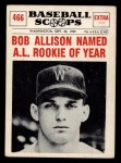 1961 Nu-Card Scoops #466   -  Bob Allison Bob Allison Named AL Rookie of Year Front Thumbnail