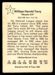 1961 Golden Press #5  Bill Terry  Back Thumbnail