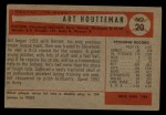 1954 Bowman #20  Art Houtteman  Back Thumbnail