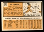 1963 Topps #246  Lee Stange  Back Thumbnail