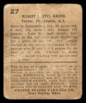 1932 R328 U.S. Caramel #27  Lefty Grove   Back Thumbnail