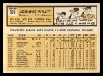 1963 Topps #376 *ERR* John Wyatt  Back Thumbnail