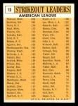 1963 Topps #10   -  Jim Bunning / Camilo Pascual / Jim Kaat / Juan Pizarro / Ralph Terry AL Strikeout Leaders Back Thumbnail