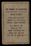 1952 Berk Ross  Dave Koslo  Back Thumbnail