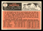 1966 Topps #142  Don Dennis  Back Thumbnail