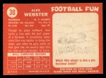 1958 Topps #30  Alex Webster  Back Thumbnail