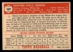 1952 Topps #169  Howie Judson  Back Thumbnail