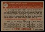 1952 Topps #45 RED Eddie Joost  Back Thumbnail