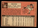 1969 Topps #28  Mike Ryan  Back Thumbnail