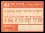1964 Topps #62  Ted Savage  Back Thumbnail