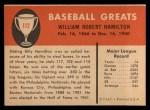 1961 Fleer #112  Billy Hamilton  Back Thumbnail