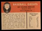 1961 Fleer #128  Ray Mueller  Back Thumbnail