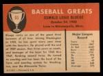 1961 Fleer #93  Ossie Bluege  Back Thumbnail