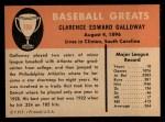 1961 Fleer #108  Chick Galloway  Back Thumbnail