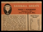 1961 Fleer #132  Roger Peckinpaugh  Back Thumbnail