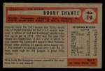 1954 Bowman #19  Bobby Shantz  Back Thumbnail