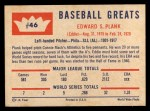 1960 Fleer #46  Eddie Plank  Back Thumbnail