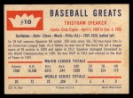 1960 Fleer #10  Tris Speaker  Back Thumbnail