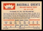 1960 Fleer #52  Bill Terry  Back Thumbnail