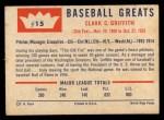 1960 Fleer #15  Clark Griffith  Back Thumbnail