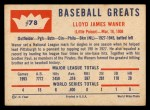1960 Fleer #78  Lloyd Waner  Back Thumbnail