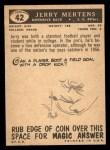 1959 Topps #42  Jerry Mertens  Back Thumbnail