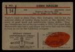 1953 Bowman #54  Gern Nagler  Back Thumbnail
