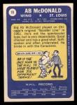 1969 Topps #18  Ab McDonald  Back Thumbnail