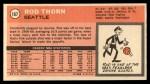 1970 Topps #167  Rod Thorn   Back Thumbnail