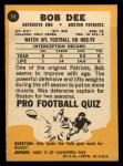 1967 Topps #14  Bob Dee  Back Thumbnail
