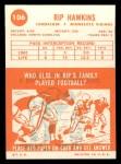 1963 Topps #106  Rip Hawkins  Back Thumbnail