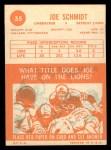 1963 Topps #35  Joe Schmidt  Back Thumbnail