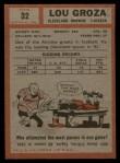 1962 Topps #32  Lou Groza  Back Thumbnail