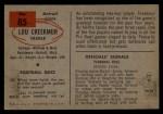 1954 Bowman #85  Lou Creekmur  Back Thumbnail