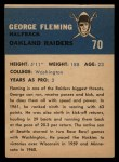 1962 Fleer #70  George Fleming  Back Thumbnail
