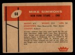 1960 Fleer #68  Mike Simmons  Back Thumbnail