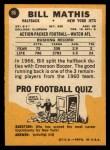 1967 Topps #96  Bill Mathis  Back Thumbnail