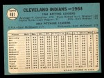 1965 Topps #481   Indians Team Back Thumbnail