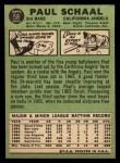 1967 Topps #58 ^COR^ Paul Schaal  Back Thumbnail